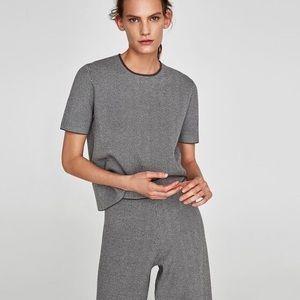 Zara Knit Gray Chevron Short Sleeve Top Size Small